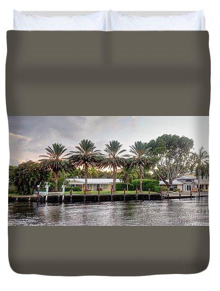 Sunset Behind Residential Palms Duvet Cover