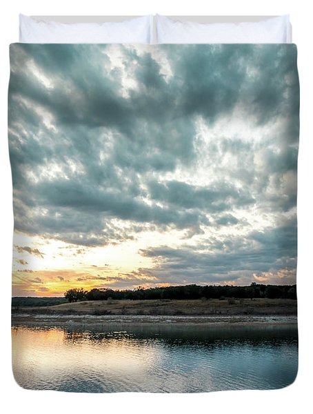 Sunset Behind Small Hill With Storm Clouds In The Sky Duvet Cover