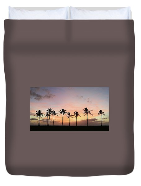 Sunset Behind The Palms Duvet Cover