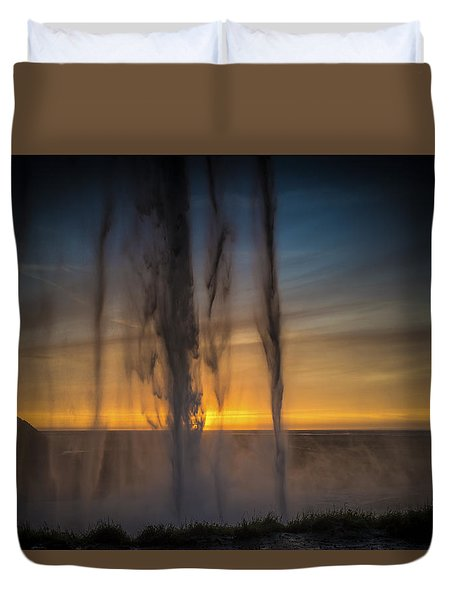 Sunset Behind The Waterfall Duvet Cover by Chris McKenna