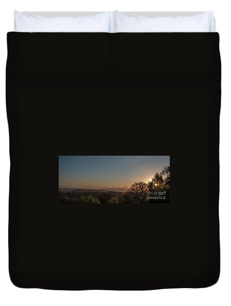 Sunset Behind Tree With Forest And Mountains In The Background Duvet Cover