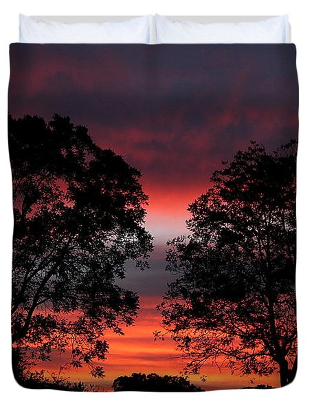 Sunset Behind Two Trees Duvet Cover