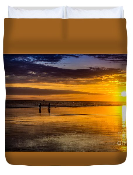 Sunset Bike Ride Duvet Cover