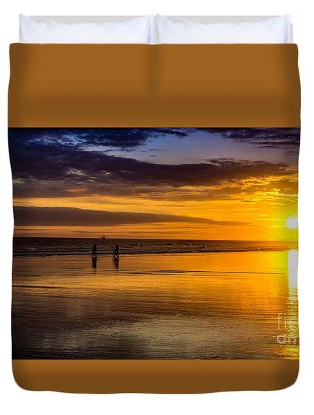 Sunset Bike Ride Duvet Cover