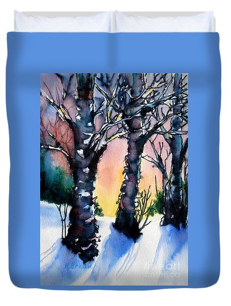 Sunset Birches On The Rise Duvet Cover by Kathy Braud
