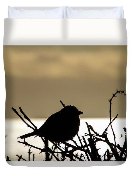 Sunset Bird Silhouette Duvet Cover