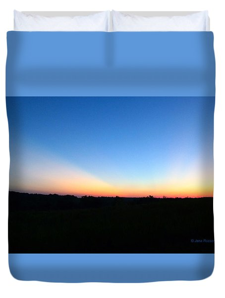 Duvet Cover featuring the digital art Sunset Blue by Jana Russon