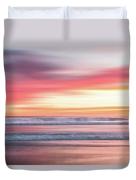 Duvet Cover featuring the photograph Sunset Blur - Pink by Patti Deters