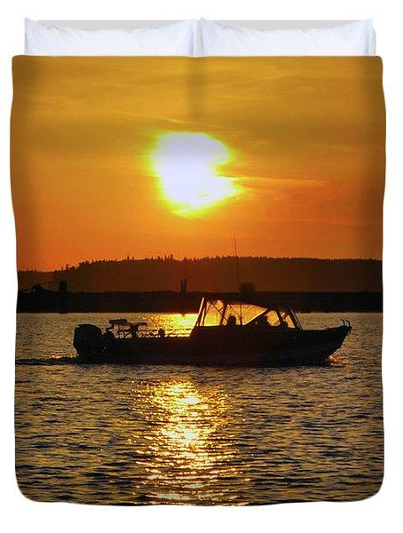 Sunset Boat Duvet Cover
