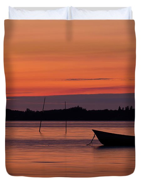 Sunset Boat Duvet Cover