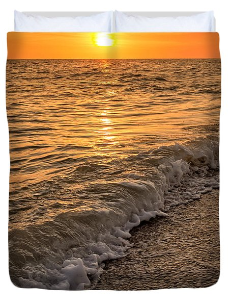 Sunset Bowman Beach Sanibel Island Florida  Duvet Cover