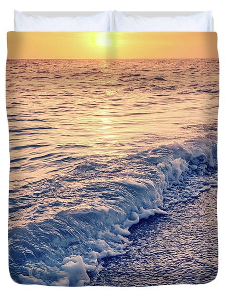 Duvet Cover featuring the photograph Sunset Bowman Beach Sanibel Island Florida Vintage by Edward Fielding