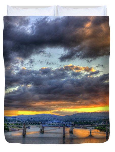Sunset Bridges Of Chattanooga Walnut Street Market Street Duvet Cover