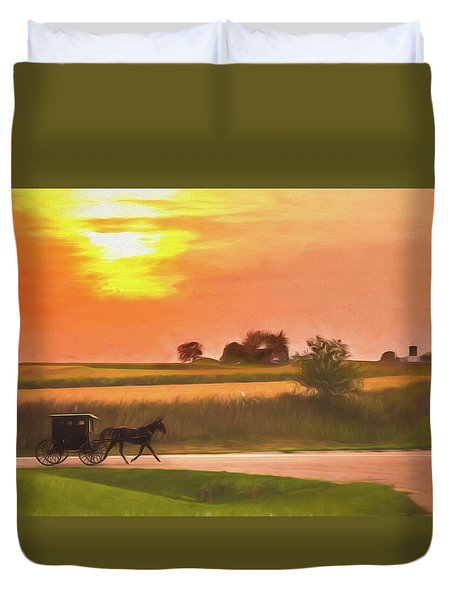 Duvet Cover featuring the photograph Sunset Buggy Ride by Joel Witmeyer