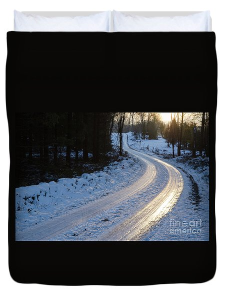 Sunset By An Icy Country Road Duvet Cover
