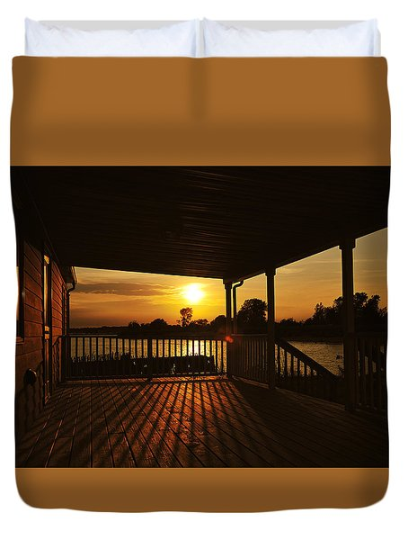 Sunset By The Beach Duvet Cover by Angel Cher