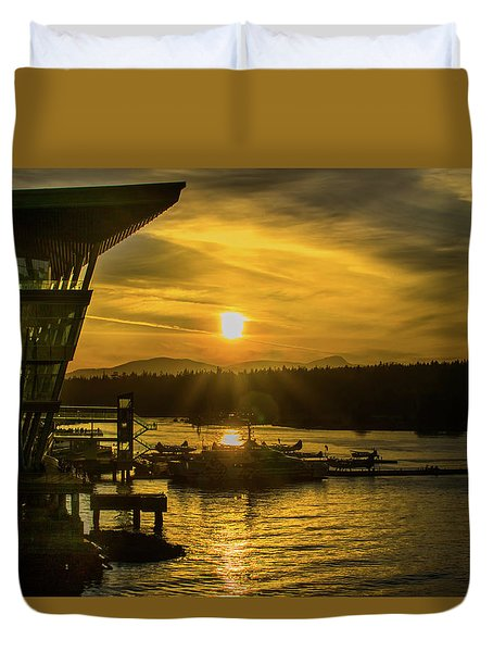 Sunset By The Convention Centre Duvet Cover
