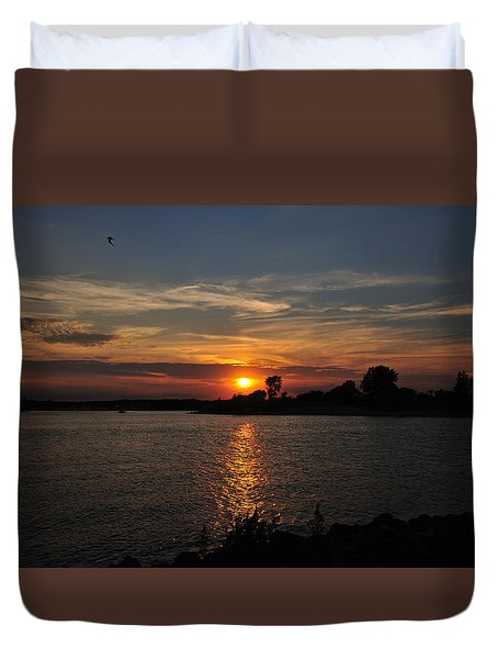 Duvet Cover featuring the photograph Sunset By The Inlet by Angel Cher