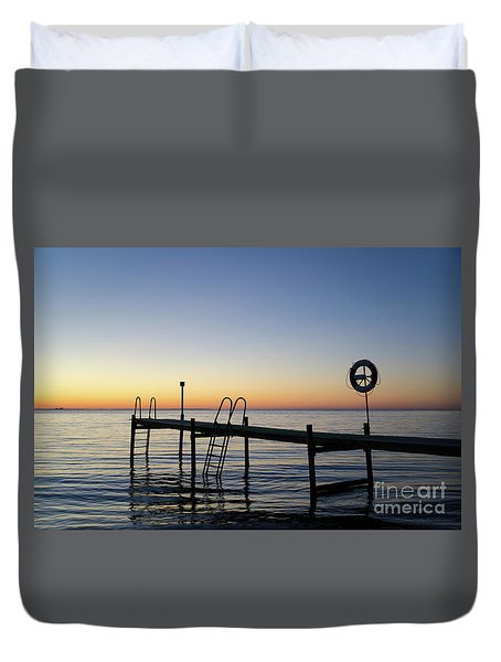 Sunset By The Old Bath Pier Duvet Cover