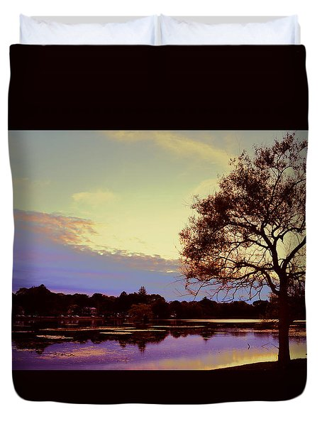 Sunset By The Pond Duvet Cover