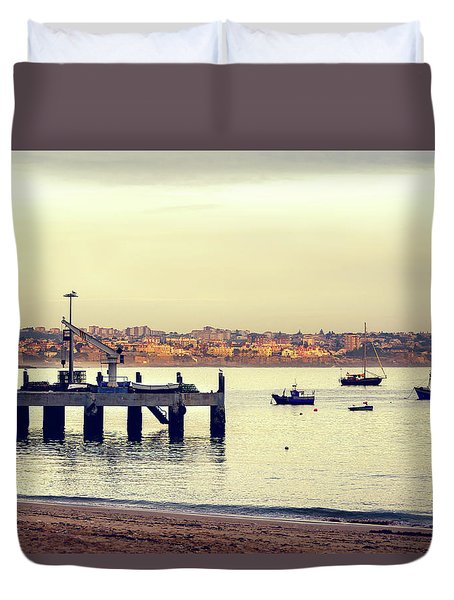 Duvet Cover featuring the photograph Sunset By The Sea by Marion McCristall