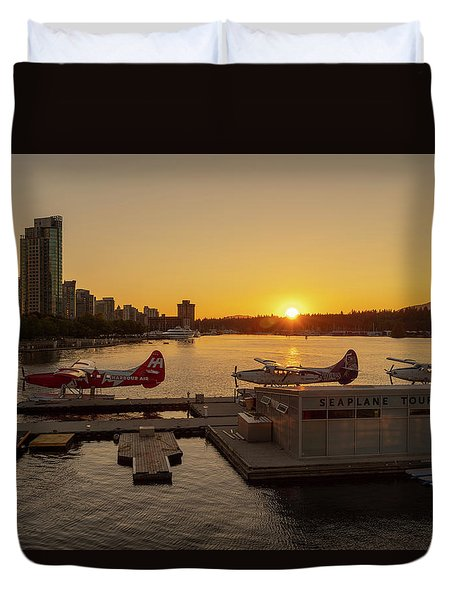 Sunset By The Seaplanes Duvet Cover