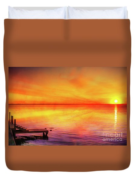 Duvet Cover featuring the digital art Sunset By The Shore by Randy Steele
