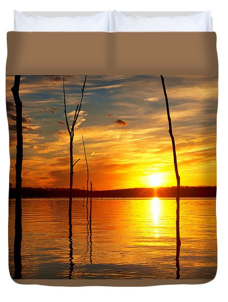 Duvet Cover featuring the photograph Sunset By The Water by Angel Cher