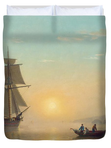 Sunset Calm In The Bay Of Fundy Duvet Cover