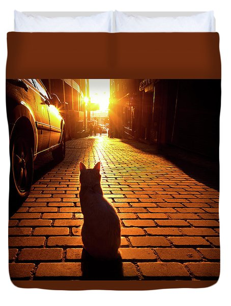 Sunset Cat Duvet Cover