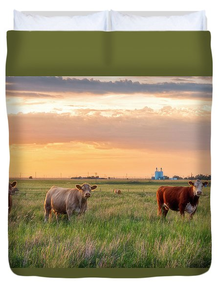 Duvet Cover featuring the photograph Sunset Cattle by Russell Pugh