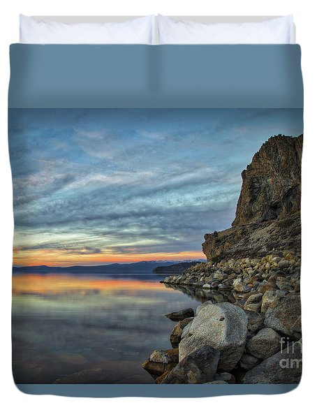 Sunset Cave Rock 2015 Duvet Cover