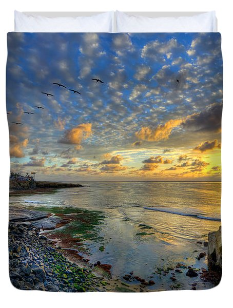 Sunset Cliffs With Brown Pelicans Duvet Cover