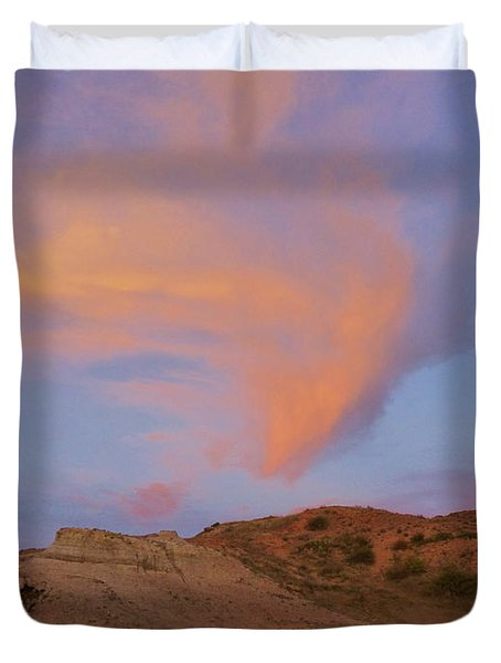 Sunset Clouds, Badlands Duvet Cover