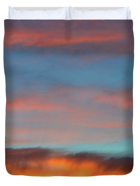 Sunset Clouds In Blue Sky  Duvet Cover