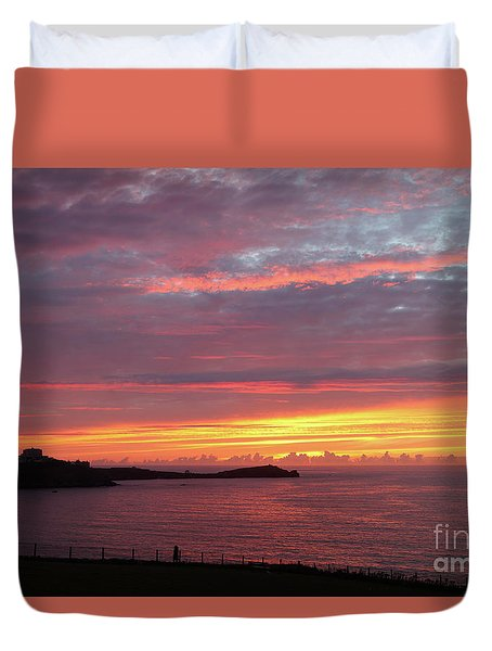 Sunset Clouds In Newquay Cornwall Duvet Cover by Nicholas Burningham