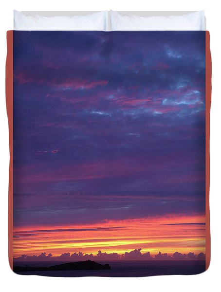 Sunset Clouds In Newquay, Uk Duvet Cover by Nicholas Burningham