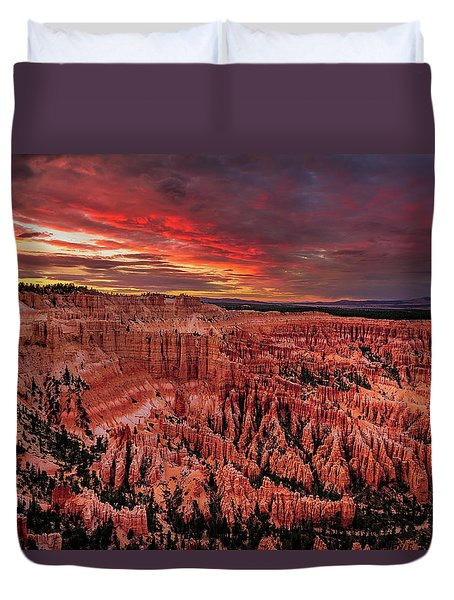 Sunset Clouds Over Bryce Canyon Duvet Cover