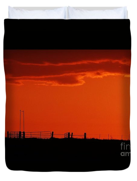Duvet Cover featuring the photograph Sunset Corral by J L Zarek