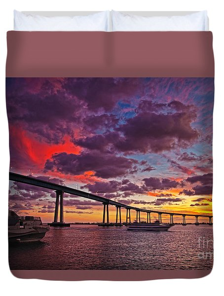 Sunset Crossing At The Coronado Bridge Duvet Cover by Sam Antonio Photography