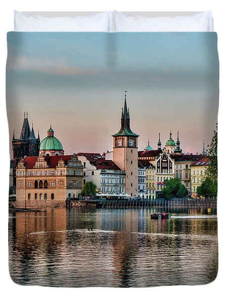 Sunset Cruise Prague Duvet Cover