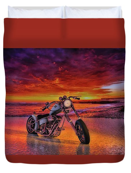 Duvet Cover featuring the photograph sunset Custom Chopper by Louis Ferreira