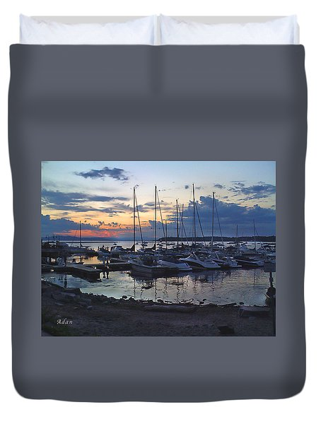 Duvet Cover featuring the photograph Sunset Dock by Felipe Adan Lerma