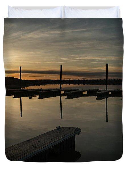 Sunset Docks Duvet Cover by Justin Johnson