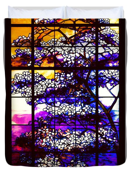 Sunset Dogwoods Neo Tiffany Window Duvet Cover