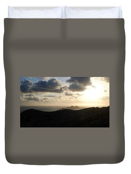 Sunset Dragon Island Duvet Cover