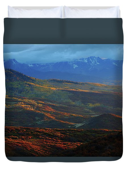 Sunset During Autumn Below The San Juan Mountains In Colorado Duvet Cover by Jetson Nguyen