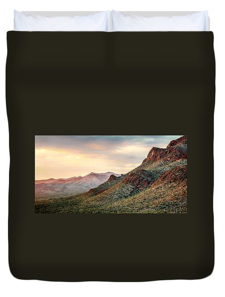 Duvet Cover featuring the photograph Sunset by Elaine Malott
