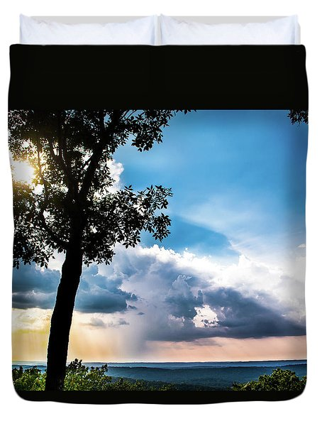 Duvet Cover featuring the photograph Sunset Explosion by Shelby Young
