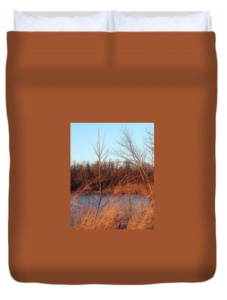 Sunset Field Over Water Duvet Cover